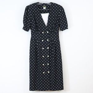 Vintage Stuart Alan midi dress black polka dot 16